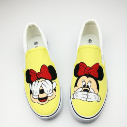 Independent Design Harajuku Anime Women Shoes Summer Flat Hand-Painted Canvas Shoes Girl Matching Casual Board Shoes Rihanna