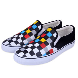 2018 Spring Autumn Women Low Flat Rihanna Canvas Shoes Cartoon Cat Hand-Painted Board Shoes Female Lazy Casual Loafers Gg