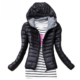 2019 Autumn Winter Women Basic Jacket Coat Female Slim Hooded Brand Cotton Coats Casual Black Jackets