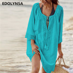 2019 Cotton Tunics for Beach Women Swimsuit Cover up Woman Swimwear Beach Cover up Beachwear Pareo Beach Dress Saida de Praia