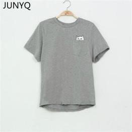 2019 Summer T-shirt Women Casual Lady Top Tees fashio Tshirt Female Brand Clothing T Shirt Printed Pocket Cat Top Cute Tee S-4XL