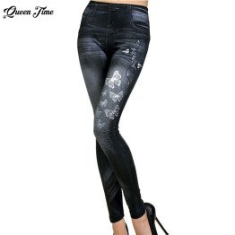 2019 Women New Fashion Classic Stretchy Slim Leggings Sexy imitation Jean Skinny Jeggings Skinny Pants big size bottoms hot sale
