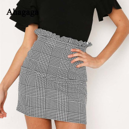 Ahagaga 2019 Spring Summer Sexy Skirt Women Bottoms Fashion plaid A-line Ruffles Sexy Club Regular Outwear Women Skirts female