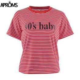 Aproms Retro Red White Stripe Tee Women Short Sleeve Basic T-shirt  Summer 2019 Casual Streetwear Boyfriend Tshirt 90s Baby Tops