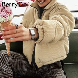 BerryGo Casual corduroy thick parka overcoat Winter warm fashion outerwear coats Women 2019 khaki streetwear jacket coat female