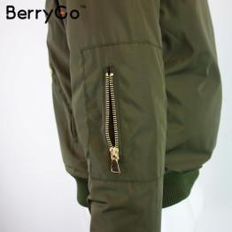 BerryGo Winter parkas Army Green bomber jacket Women coat cool basic down jacket Padded zipper chaquetas biker outwear