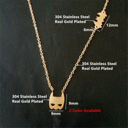 Drop Shipping Vampire Gothic Style Superheros Pendant Batman Necklace for Women Stainless Steel Gold Bat Superman Movie Jewelry