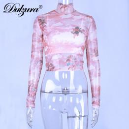 Dulzura mesh print women t shirts long sleeve heigh neck sexy 2019 spring summer see through tshirt crop top fashion t-shirts