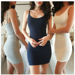 Fashion Women Sexy Backless Basic Dresses Sleeveless Slim Vestidos Vest Tanks Bodycon Dress Strap Solid Party Dress NQ657420