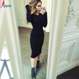Gagaopt Autumn Women Dresses 95% Cotton Knee-Length Skinny Office Dress Short Sleeve Bandage Robes Bodycon Vestidos Pencil Dress