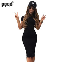 Gagaopt Autumn Women Dresses 95% Cotton Knee-Length Skinny Office Dress Short Sleeve Bandage Robes Bodycon Vestidos Pencil Dress