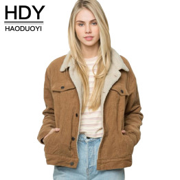 HDY Haoduoyi Winter Solid Color Women Coat Long Sleeve Turn-down Collar Jacket Coat For Female Women Single Breasted Basic Tops