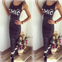 JECKSION Letter Print Sexy Women Dresses 2016 Fashion Summer Grey Long Dress Solid Sleeveless Lady Dress Girls Vestidos #LSW3