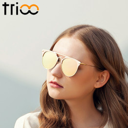 TRIOO Mirror Rose Gold Women Sunglasses Round Luxury Brand Female Sun Glasses For Women 2017 Fashion Oculos Star Style Shades