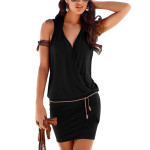 Women Clothes Women Sexy Deep V-neck Sleeveless Mini Dress Summer Beach Dress with Belt