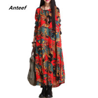 fashion autumn style cotton linen vintage print  plus size women casual loose long dress party vestidos femininos 2016 dresses